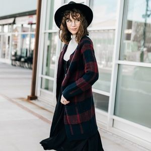 Plaid Norwich Sweater Coat